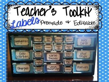 Teacher's Toolkit Labels {Editable}