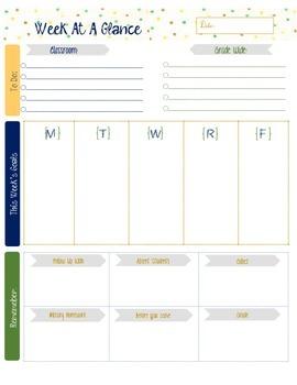 Teacher's Week At A Glance Template