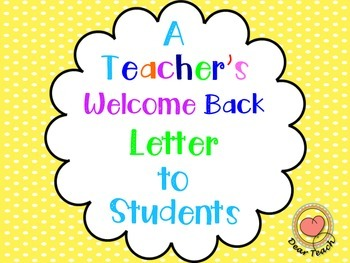 A Teacher's Welcome Back Letter to Students