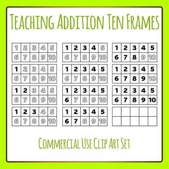 Teaching Addition 10 Frames With Numbers Clip Art for Comm
