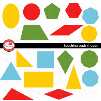 Teaching Basic Shapes Clipart and Flashcards by Poppydreamz