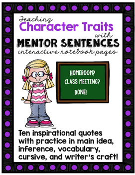 Teaching Character Traits with Mentor Sentences Interactiv
