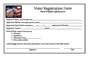Teaching Elections:  Student Voter Registration Form