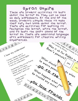 Teaching Letter U.....daily individual worksheets and activities