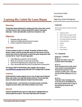 Teaching Letters and Sounds Lesson Plan