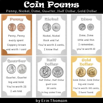 Coin Poems ~ Penny, Nickel, Dime, and Quarter