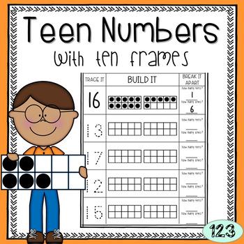 Teen Numbers with Ten Frames - Freebie!
