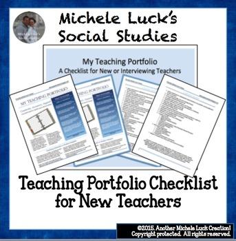 Teaching Portfolio Checklist for New Teachers or Teacher I