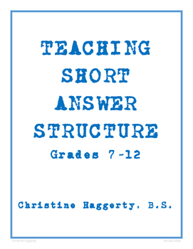 Teaching Short Answer Structure