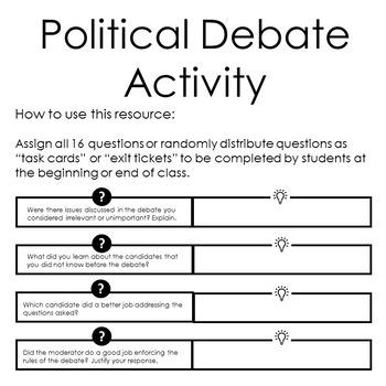 Teaching the Debate (2016 Presidential Debate Activity)