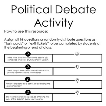 Political Debate Task Cards/Activity