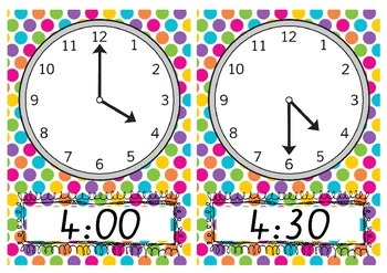 Teaching time to the hour and half hour, CLOCKS as posters