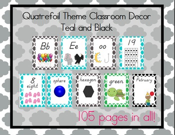 Teal and Black Quatrefoil Theme Classroom Bundle, D'Nealian Font