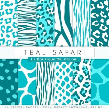 Teal Blue Animal Prints Digital Paper, scrapbook backgrounds.