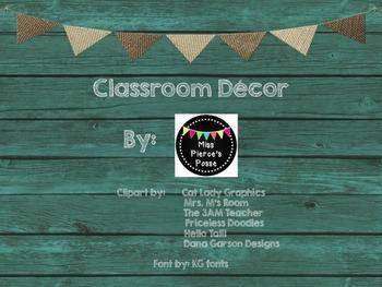 Teal & Burlap Class Decor Word Wall Headers