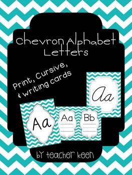 Teal Chevron Alphabet (Cursive, Print, and Writing Cards)