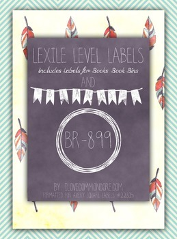 Teal Chevron Feathers Lexile Level Labels for Books and Bo