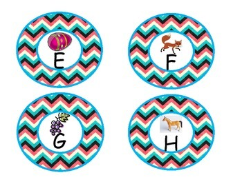 Teal Chevron Word Wall Letters