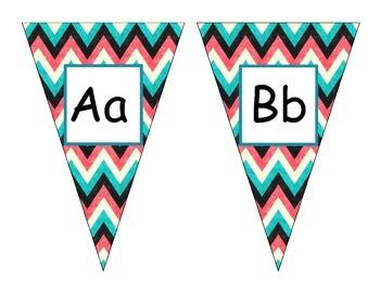 Teal Chevron alphabet Pennants
