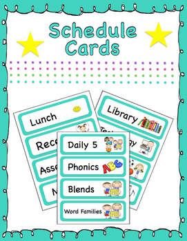 Teal Daily Schedule Cards