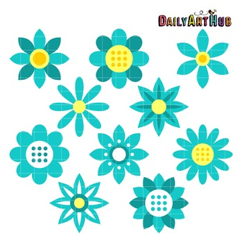 Teal Flowers Art Clip Art - Great for Art Class Projects!