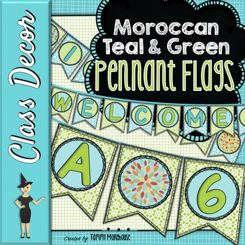 Teal & Green Moroccan Pennant Banners