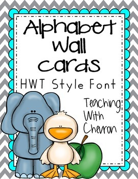 Teal-Grey-Yellow Chevron themed Alphabet Wall Cards