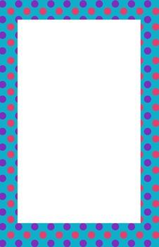 Teal, Pink, and Purple Polka dot Border
