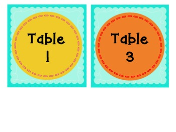 Teal Table Numbers