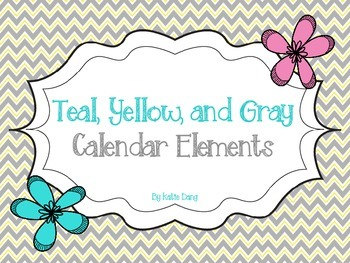 Teal/ Turquoise, Gray, and Yellow Calendar Elements
