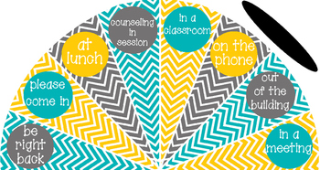 Teal, Yellow and Grey - Where is the counselor? sign variation #2