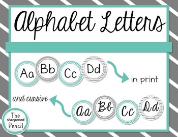 Teal and Gray Alphabet in Print and Cursive