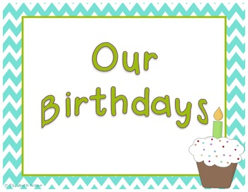 Teal and Green Chevron Birthday pack