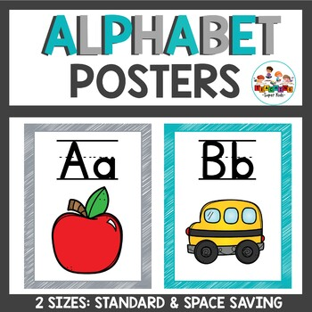 Alphabet Posters in Teal and Gray