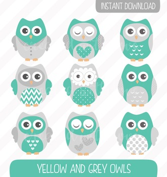 Teal and Grey Owls Clip Art