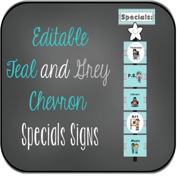 EDITABLE Teal and Grey Specials Signs