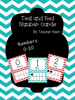 Teal and Red Number Cards (0-20)