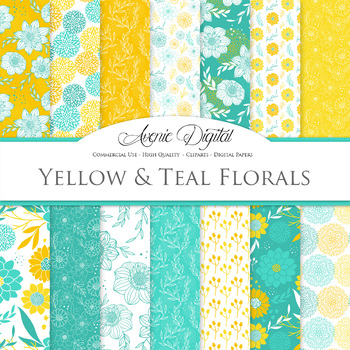 Teal and Yellow Floral Digital Paper patterns blue dahlia