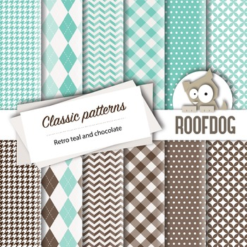 Teal and chocolate classic patterns—argyle, houndstooth, c