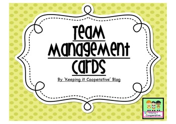 Team Behavior Management Cards