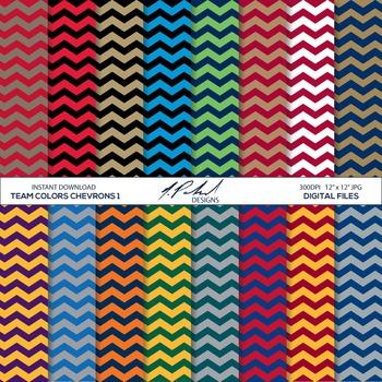 Team Colors Digital Paper Pack 1 - Chevron Pattern