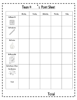 Team Point Worksheet
