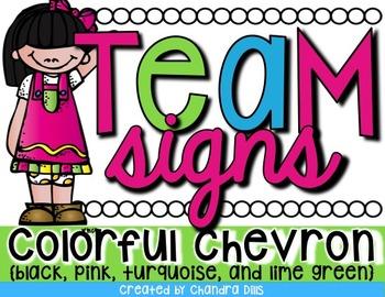 Team Signs {Colorful Chevron}