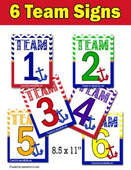 Team Signs Nautical Theme for Mid-upper Elementary