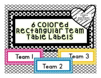 Team Table Desk Labels - FREEBIE!! - Color Coded Labels -