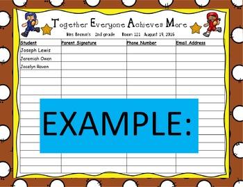 Team Themed Parent Sign-in for Meet the Teacher