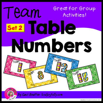 Team or Group Foldable Table Numbers 1-15! (SET 2)