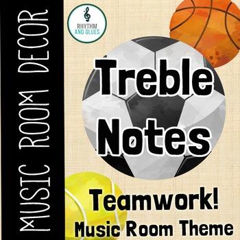 Teamwork Music Room Theme - Treble Notes, Rhythm and Glues