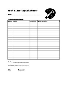 "Tech Theater Class ""Build Sheet"""