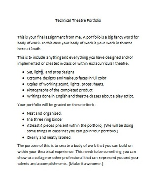 Technical Theatre Portfoilio Guidelines